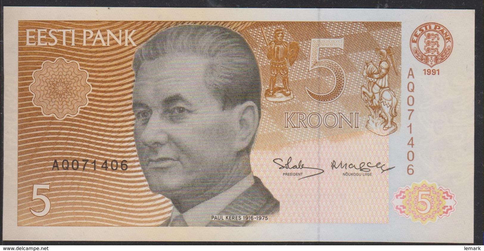 Estonia 5 Krooni 1991 P71a UNC - Estonia