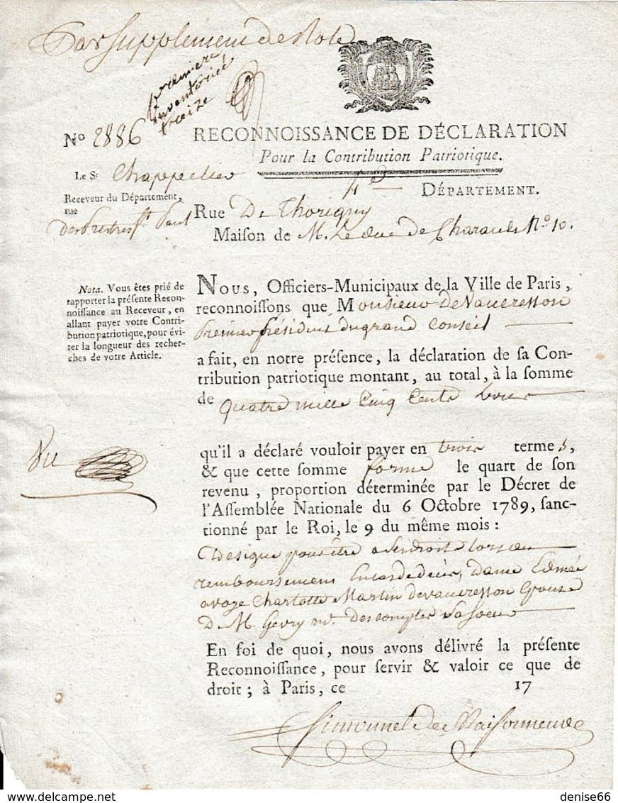 1792 - Reconnaissance De Déclaration Pour La CONTRIBUTION PATRIOTIQUE - Maison De M. Le Duc De CHARAULT - Documents Historiques