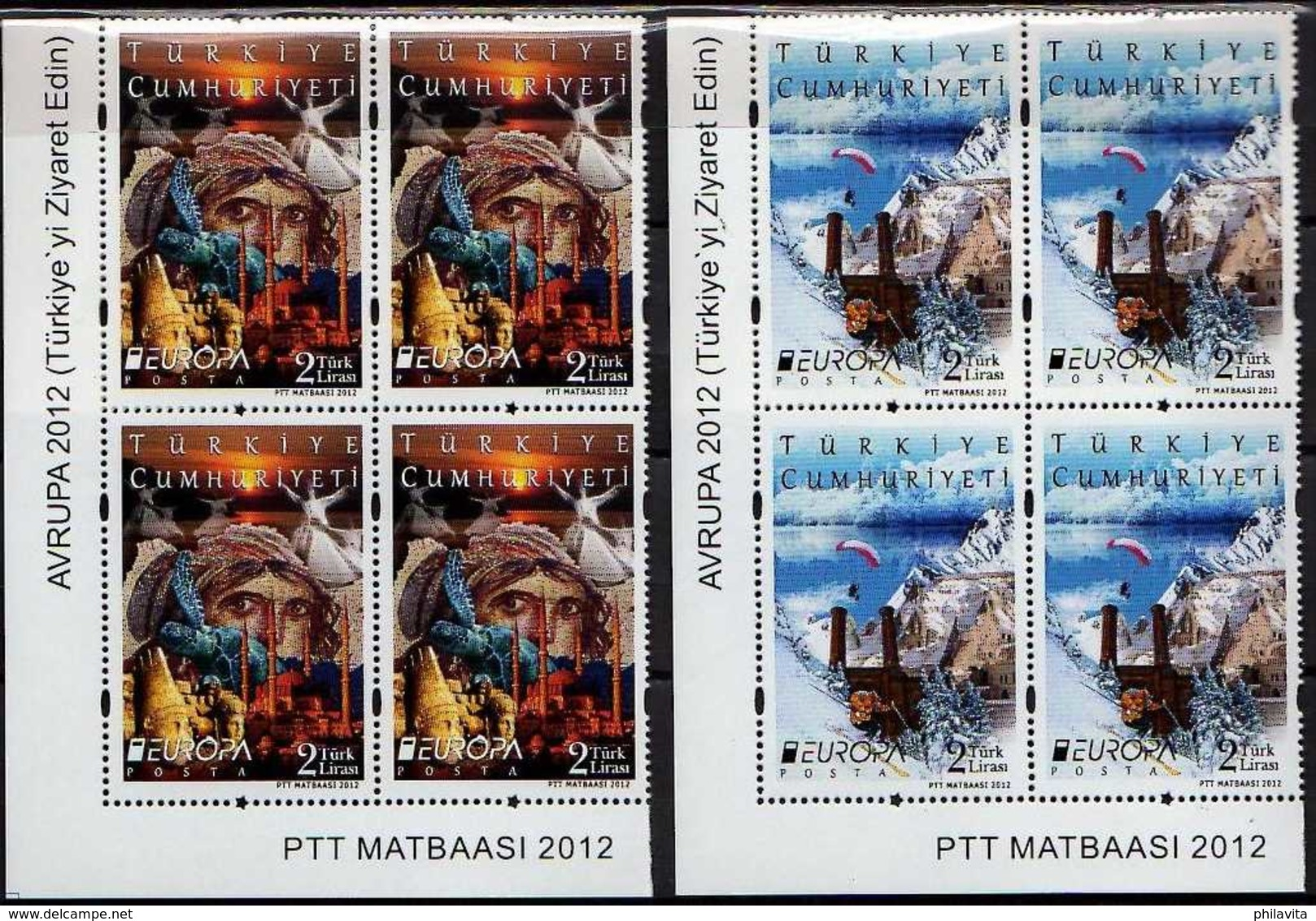 2012 Turkey Europa CEPT Visit -Blocks Of 4 Corners -Mi 3954/3955 -MNH** - Nuevos