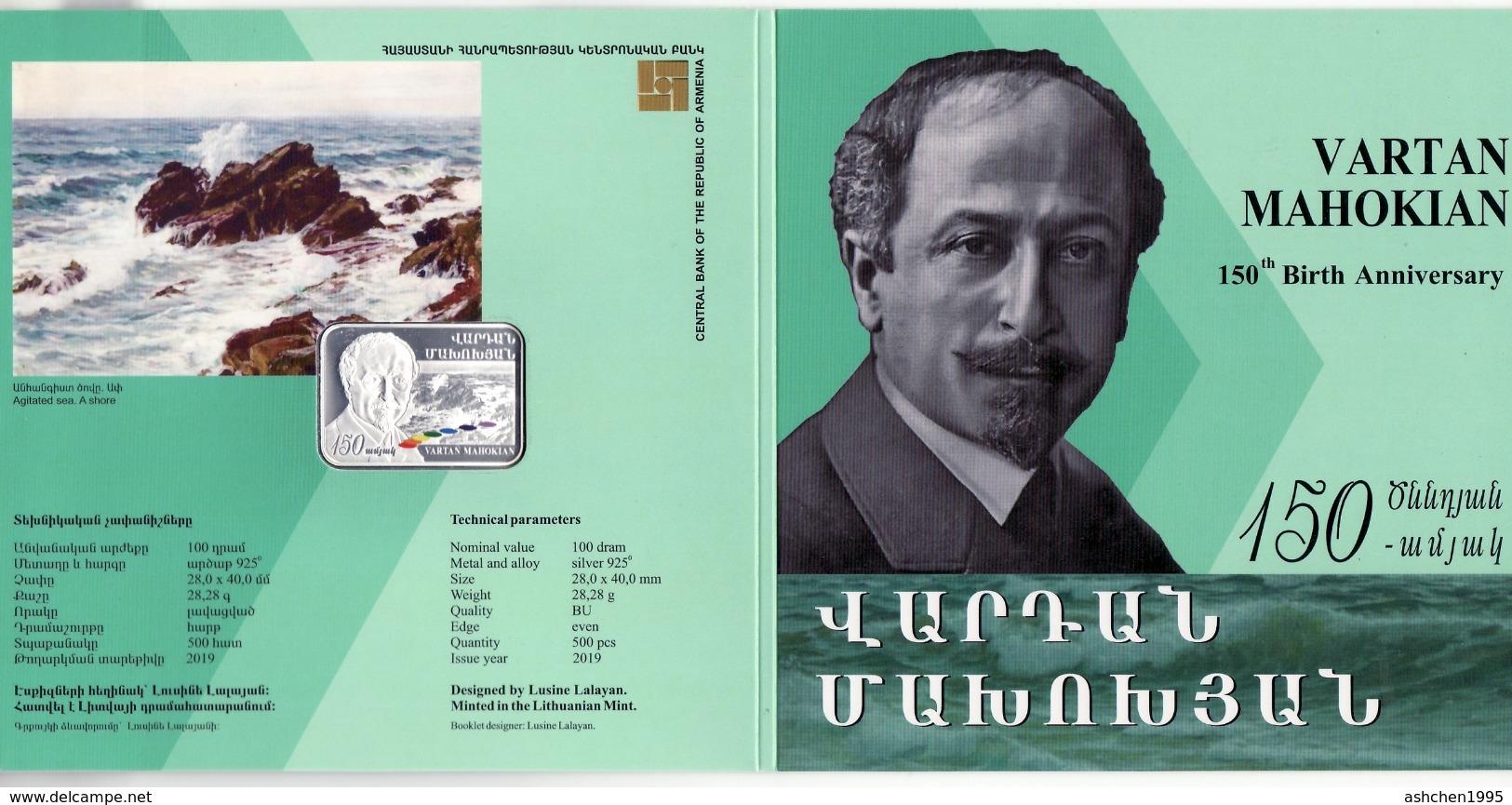 Armenien/Armenie/Armenia 2019, 150th Anniv. Of Vartan Mahokian (1869-1937, Marine Art, Silver Coin In Booklet - PROOF - Armenia