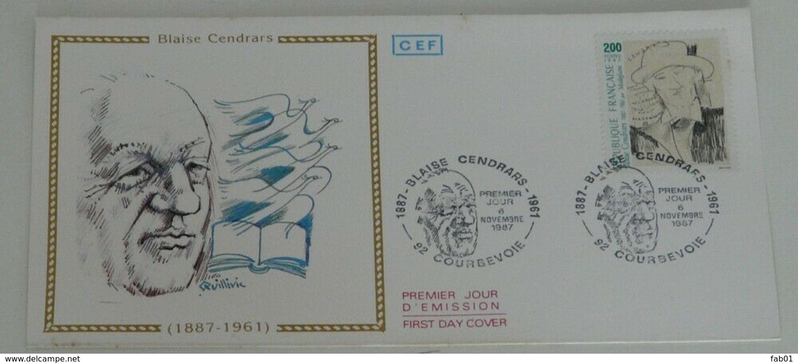 Enveloppe 1er Jour Blaise Cendrars - Marcophilie (Lettres)
