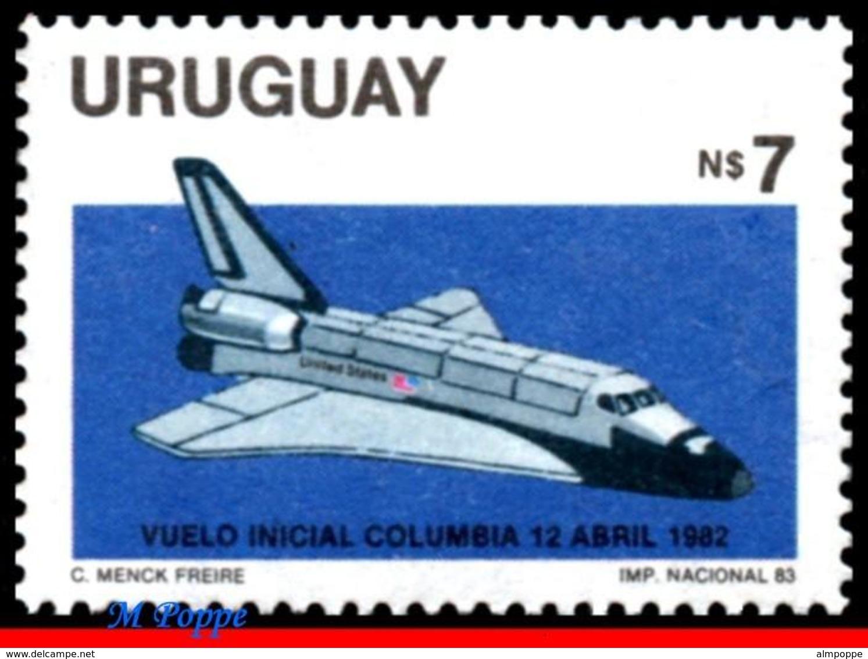 Ref. UR-1147 URUGUAY 1983 SPACE EXPLORATION, FIRST SPACE SHUTTLE, FLIGHT, NAVE COLUMBIA, MNH 1V Sc# 1147 - Uruguay