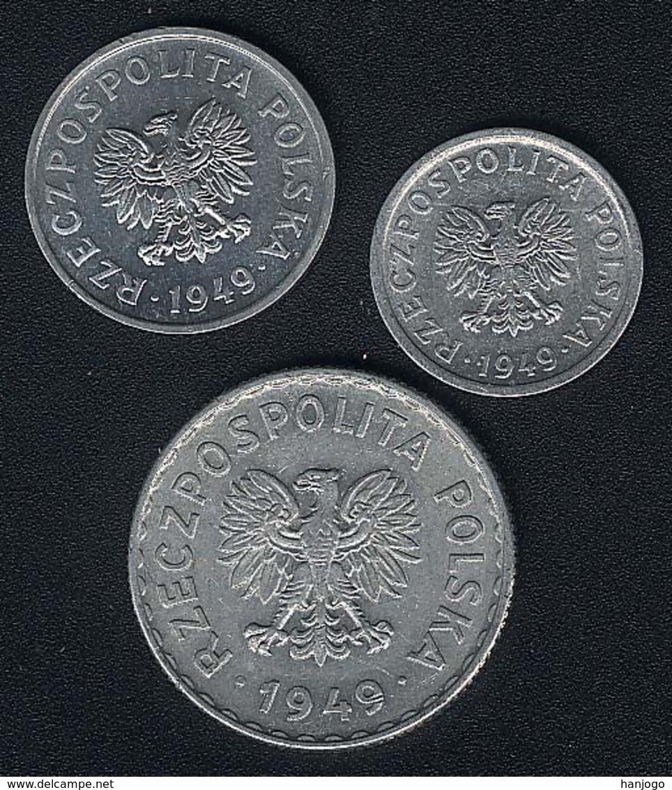 Polen, Lot: 10 + 20 Groszy + 1 Zloty 1949 Alu, XF/XF+ - Pologne