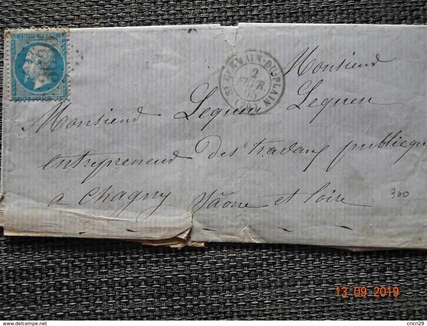 St  GERMAIN Du PLAIN : Lettre De 1865 : GC 3636 + Càd Type 15 - Poststempel (Briefe)