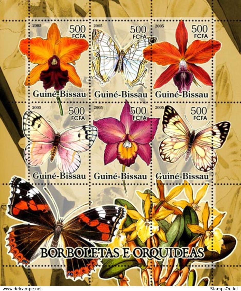 Guinea - Bissau 2005 - Butterflies & Orchids 6v, Y&T 2104-2109, Michel 3257-3262 - Guinée-Bissau