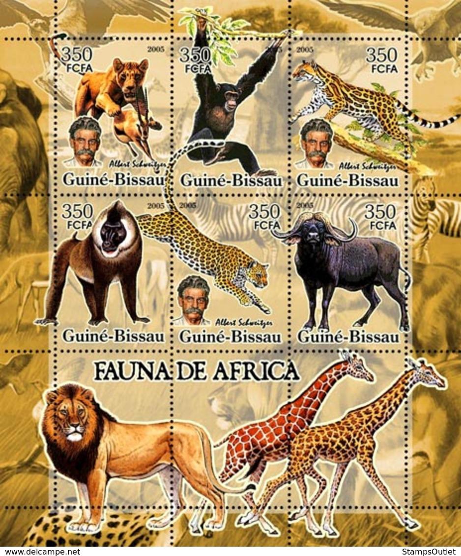 Guinea - Bissau 2005 - Fauna Of Africa & A. Schweitzer 6v, Y&T 2110-2115, Michel 3209-3214 - Guinée-Bissau