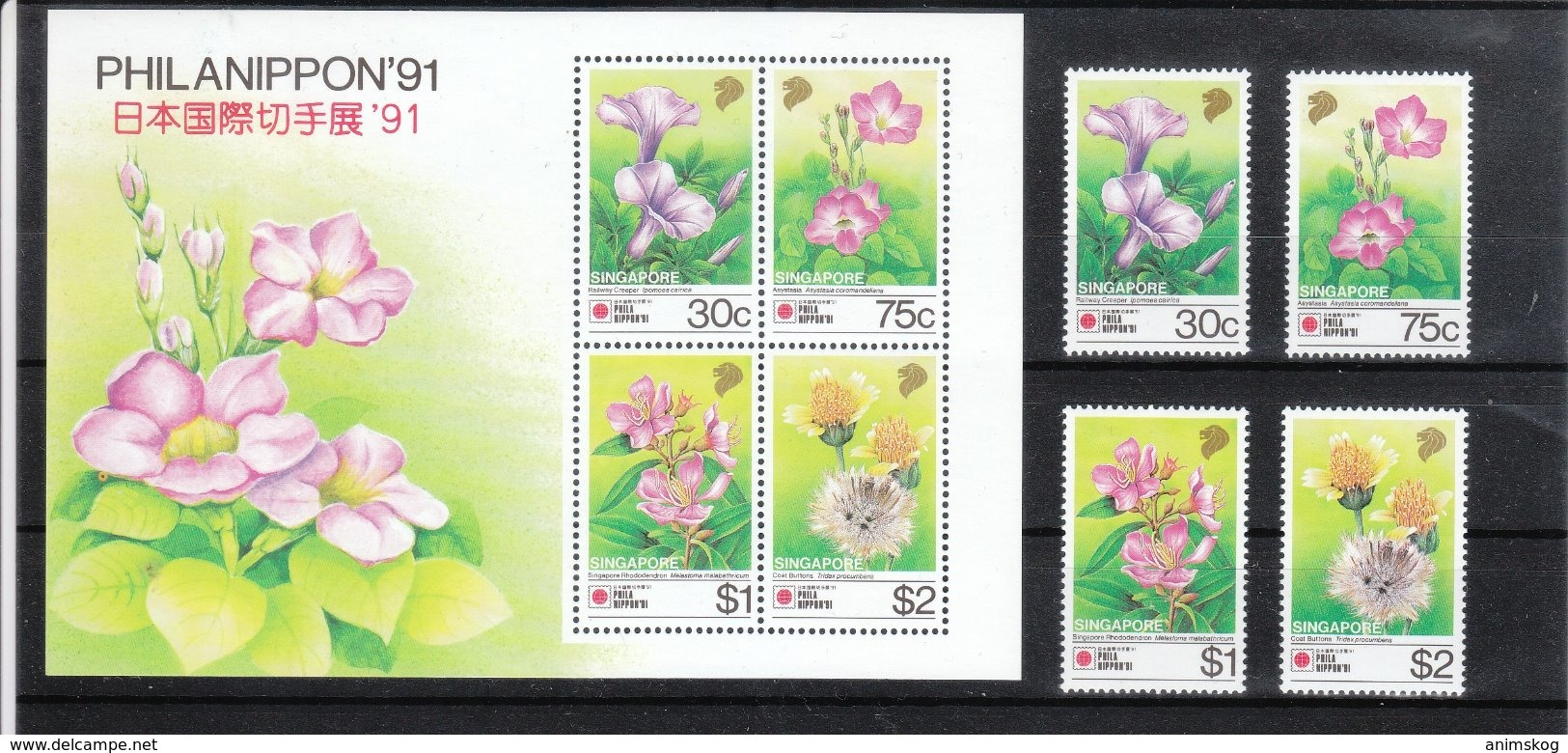 Singapur 1991**, PHILANIPPON '91, Sukkulente / Singapore 1991, MNH, PHILANIPPON '91, Succulent - Sukkulenten