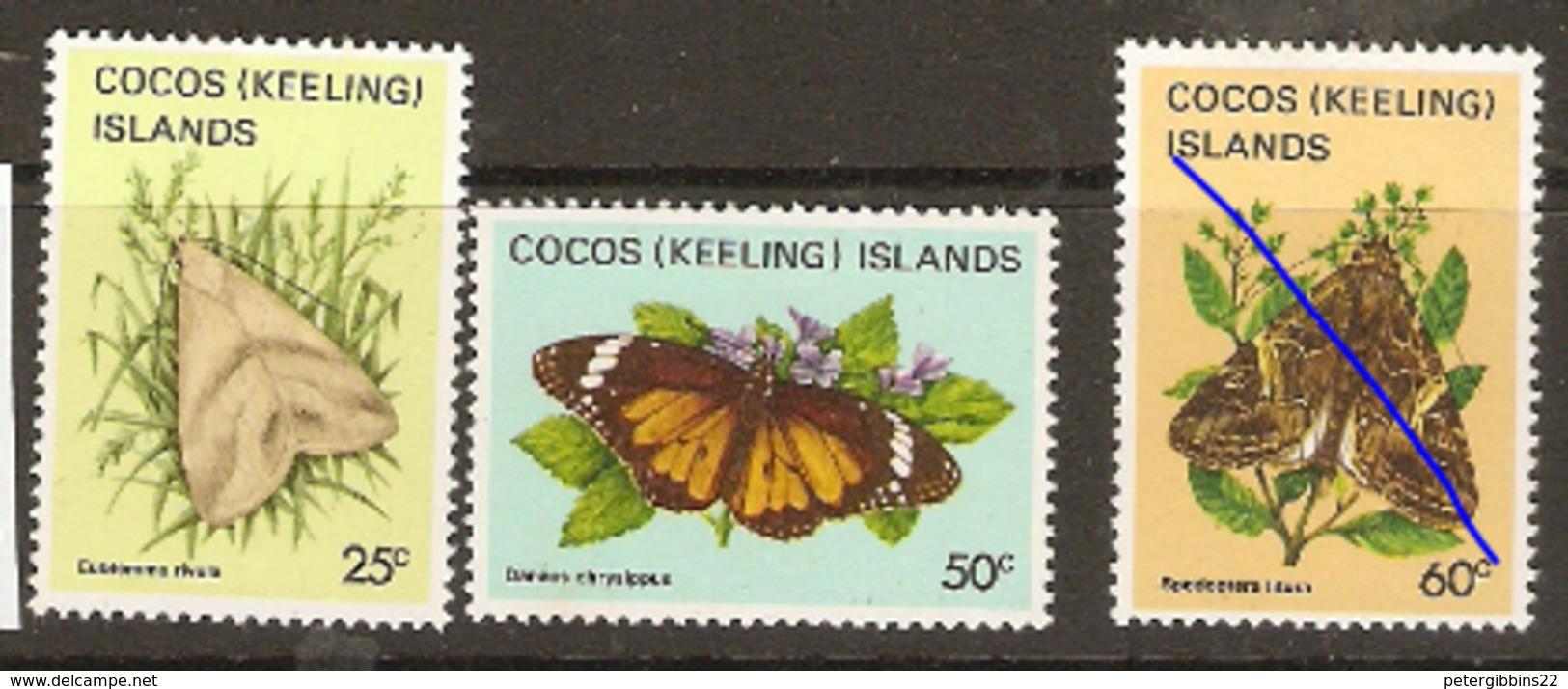 Cocos Keeling Islands  1982  SG 89,94,6  Moths  Unmounted Mint - Cocos (Keeling) Islands