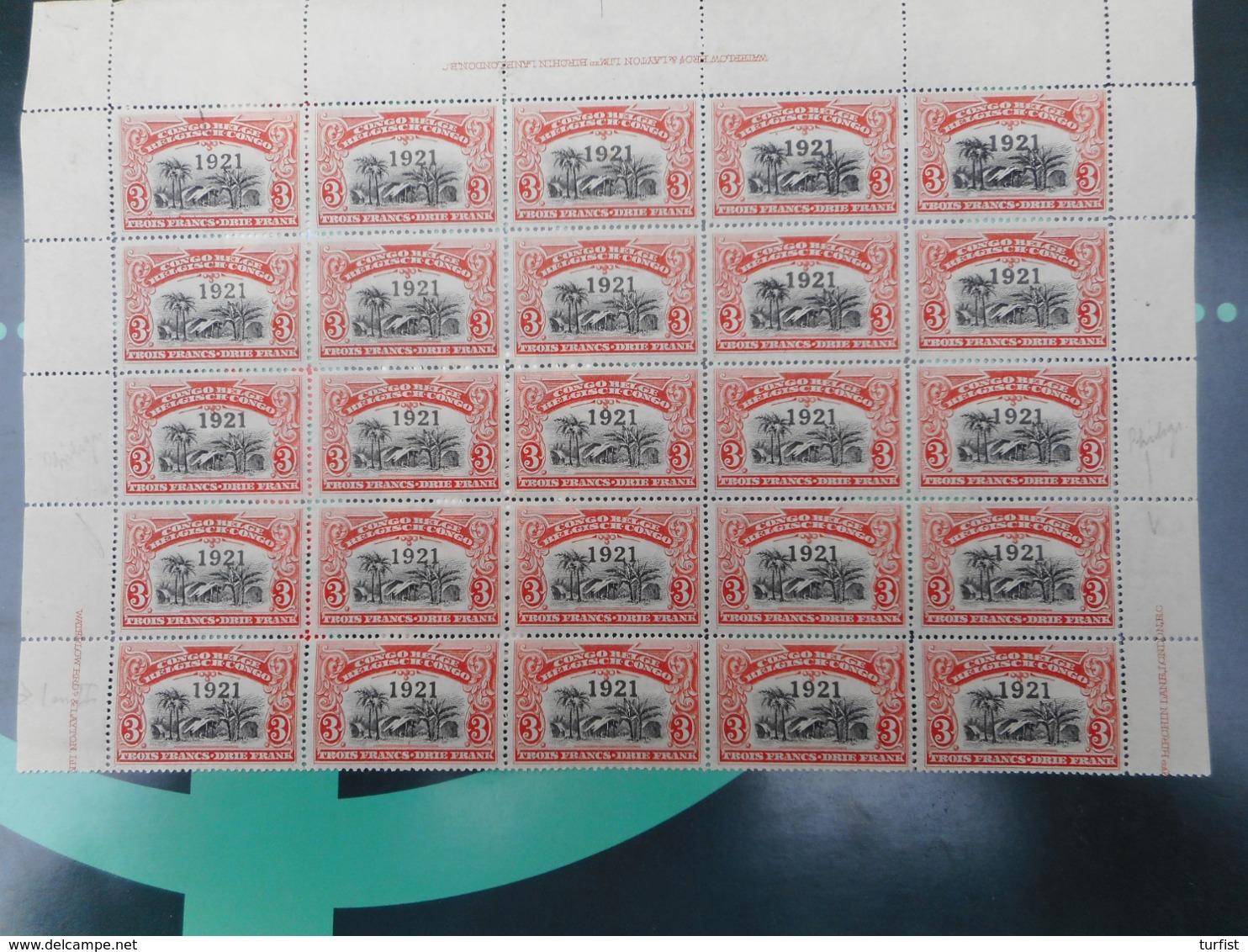 Belgisch Congo Vel Van 20 Zegels Nr 92** Postfris Plus 5 Zegels Nr 92CU Met WATERMERK (eenband Van 5 Zegels) - Belgisch-Kongo