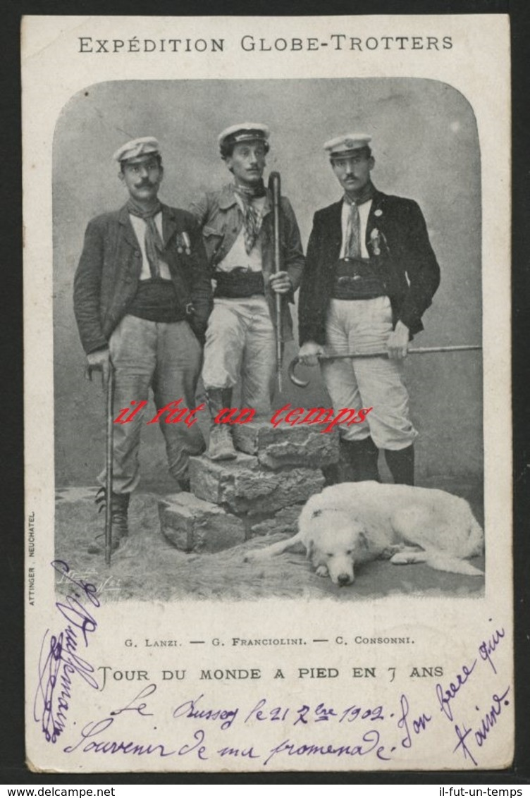 G. LANZI - G. FRANCIOLINI - C. CONSONNI - EXPEDITION GLOBE TROTTEUR - TOUR DU MONDE A PIED EN 7 ANS - Postcards