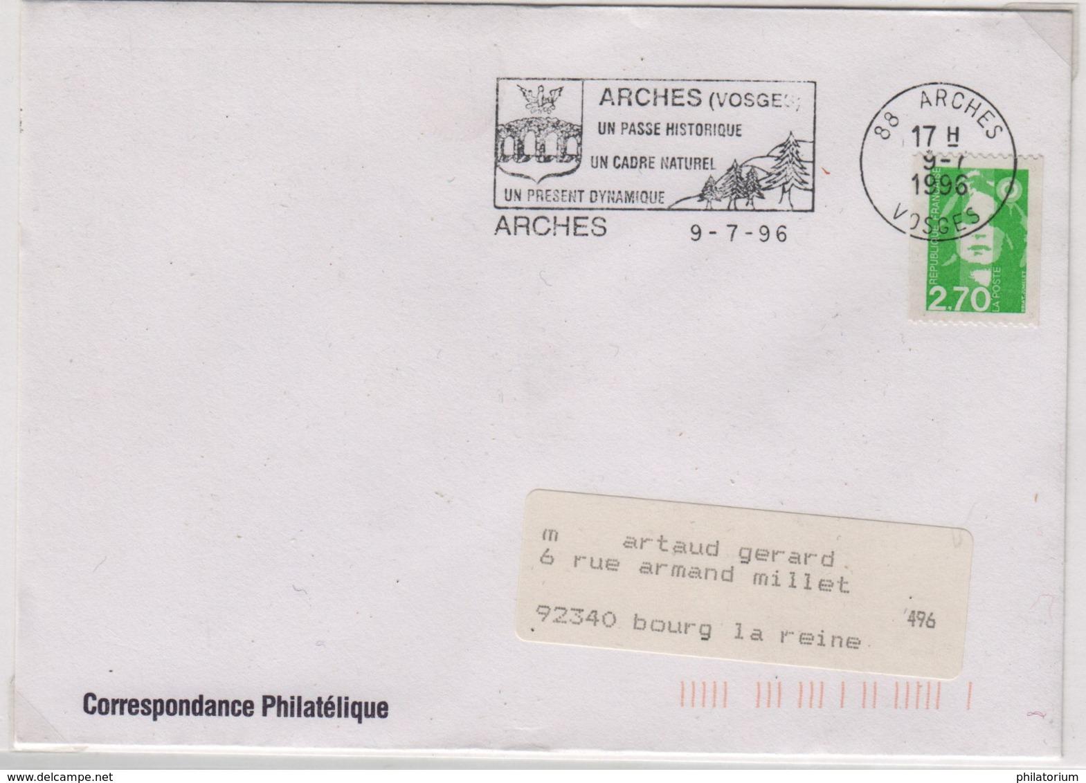 ARCHES 9 Juillet 1996 Flamme Un Passé Historique  Un Cadre Naturel  Un Présent Dynamique - Marcophilie (Lettres)
