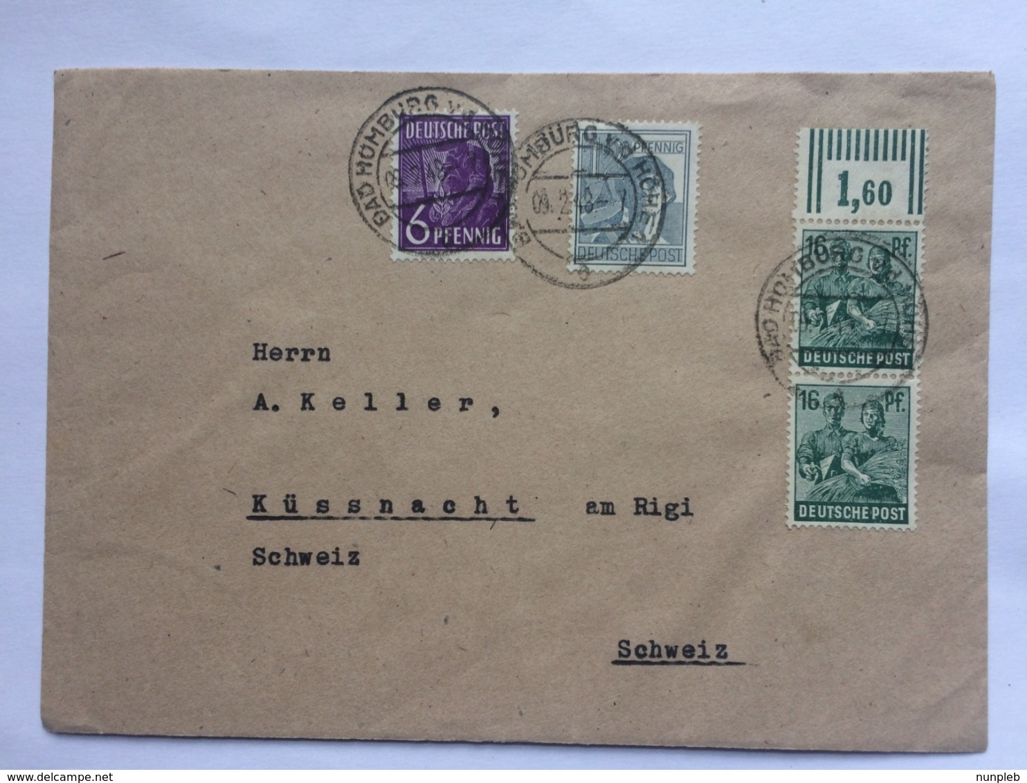GERMANY 1948 Allied Cover Bad Homburg To Kussnacht Switzerland - Zone AAS