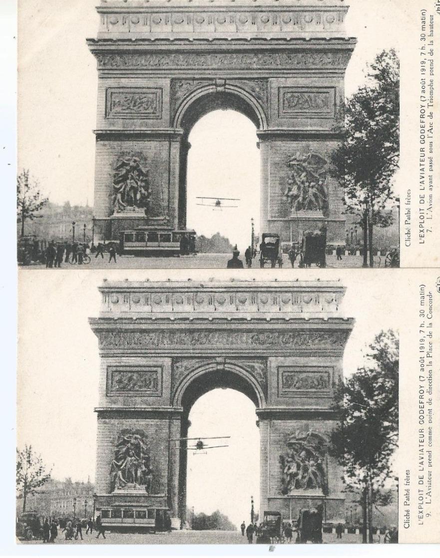 CPA 1150 -  2 Cartes Sur L'exploit De L'aviateur Godefroy - Passage Sous L'Arc De Triomphe - Ereignisse
