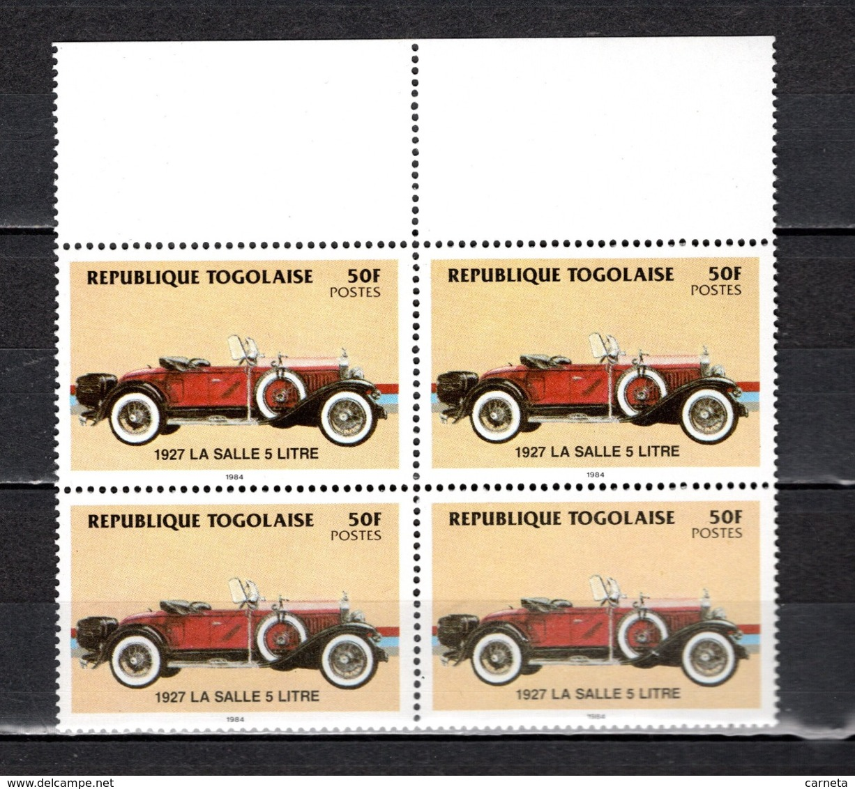 TOGO N° 1157  BLOC DE QUATRE NEUF SANS CHARNIERE COTE  12.00€  AUTOMOBILE VOITURE ANCIENNE - Togo (1960-...)