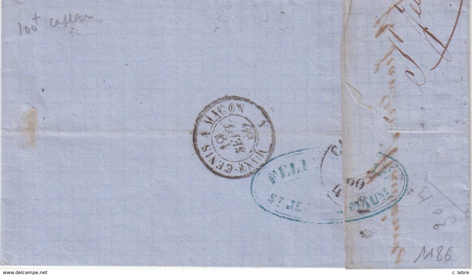 """FRANCE : N° 14 . OBL . CAD SARDE . DE """" ST JEAN DE MAURIENNE """" .( SAVOIE ) . B . 1860 . - 1849-1876: Klassik"""
