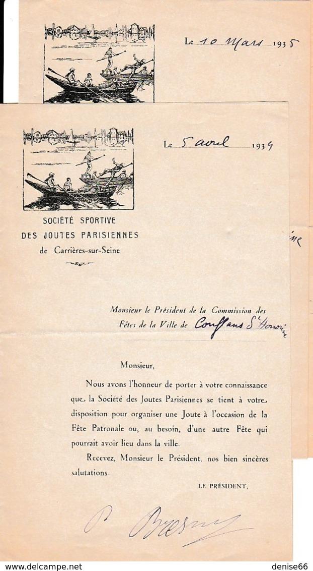 1934/35 - CARRIÈRES-sur-SEINE (78) Sté Sportive Des JOUTES PARISIENNES - CONFLANS-Ste-HONORINE - Documents Historiques