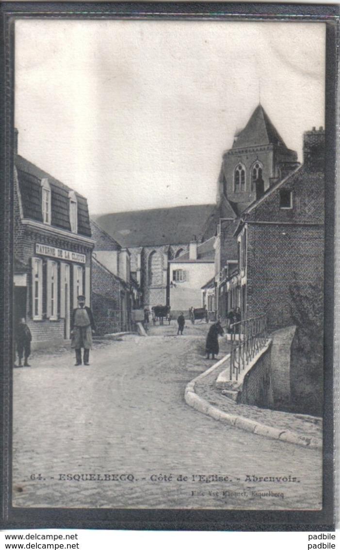 Carte Postale 59. Esquelbecq Taverne De La Clique Cotés De L'église  Abreuvoir Très Beau Plan - France