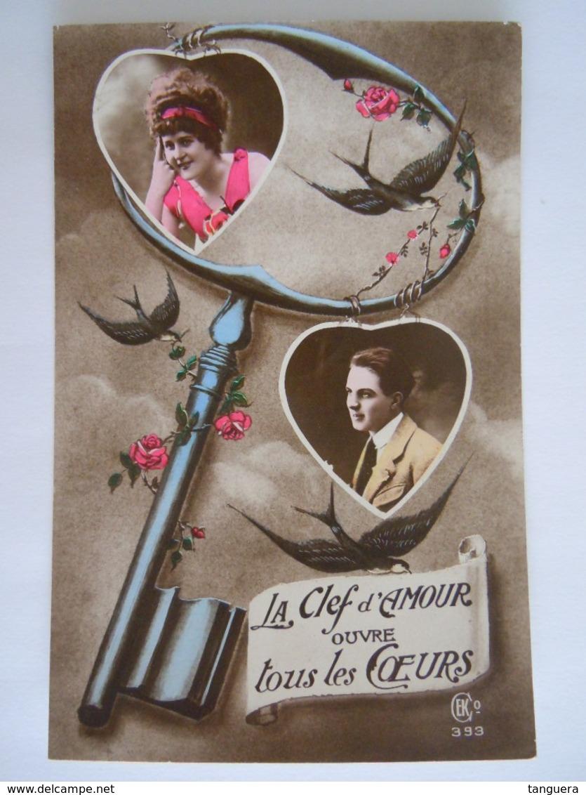 Koppel Romantisch Couple Romantique La Clef D'amour Ouvre Tous Les Coeurs Hirondelle Edit CEK 393 1921 Annevoie -Orp - Couples