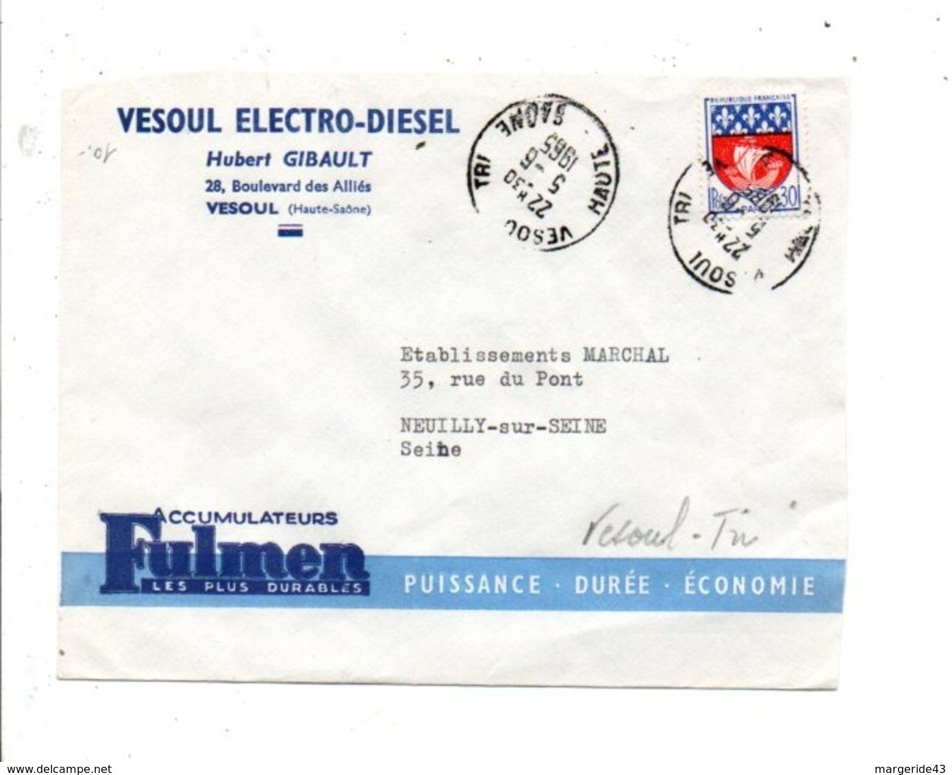 LETTRE A EN TETE DE VESOUL TRI HAUTE SAONE 1965 - Marcophilie (Lettres)