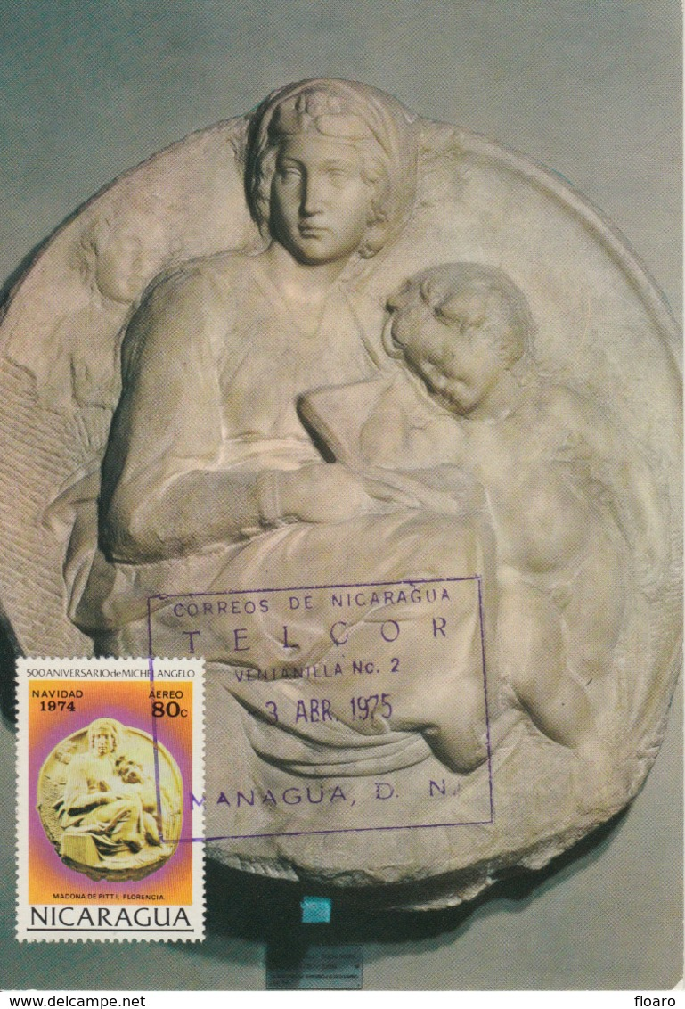 Carte-Maximum NICARAGUA N°Yvert PA 826 / MICHEL ANGE / Vierge Avec L'Enfant - Nicaragua
