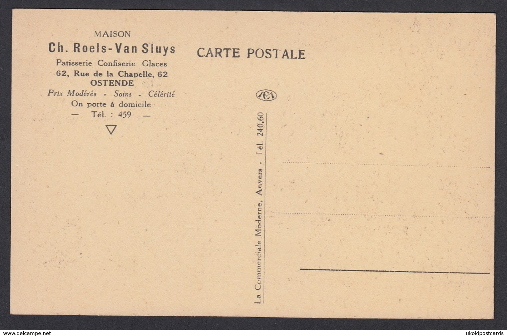 CPA -  Belgique, OSTENDE / OOSTENDE, Ch Roels-Van Sluys, Patisserie, 62 Rue De La Chapelle  - # 1 - Oostende