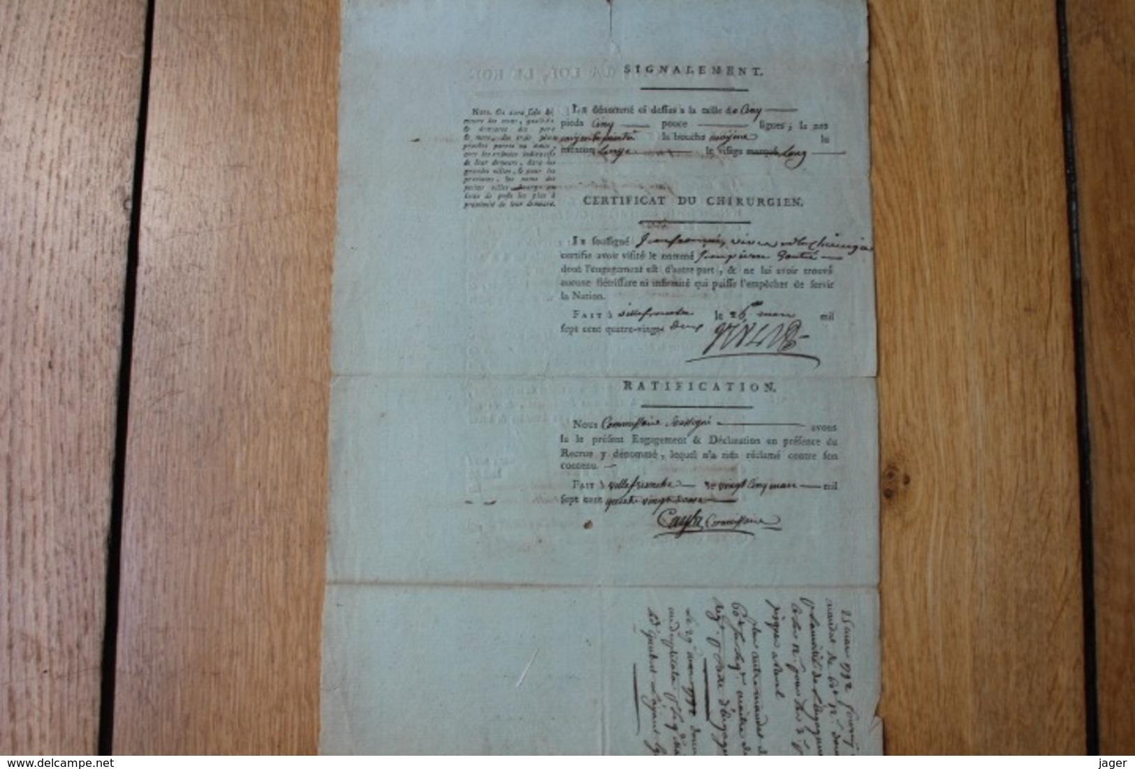 LA NATION LA LOI LE ROI  ENGAGEMENT NOAILLES DRAGON 1792  HAUTE GARONNE - Documentos Históricos