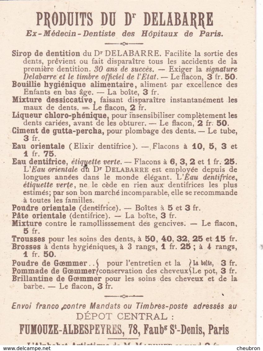 """CHROMOS.  PUBLICITE PRODUITS DU Dr DELABARRE  IMAGE ALPHABET ARTISTIQUE DE M. MARINIER LA LETTRE """" I"""" COMME IMITATION - Cromos"""