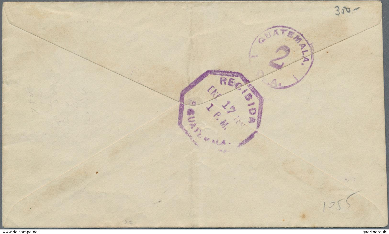 Guatemala: 1897, 2c. Brown/green Uprating A Stationery Envelope 6c. Black/salmon, Domestic Usage Fro - Guatemala