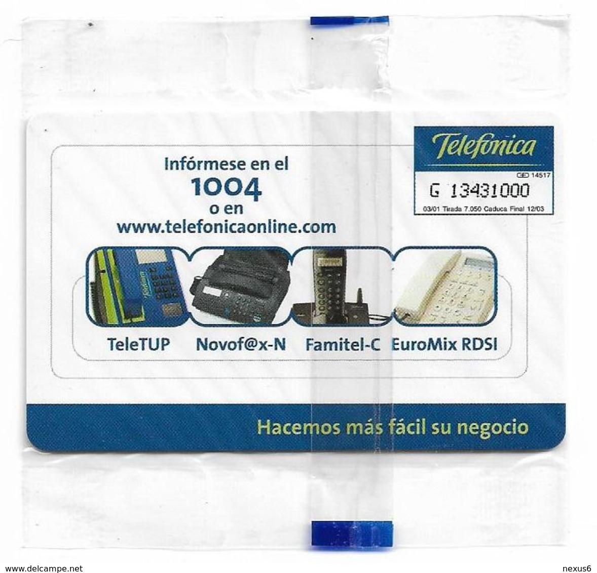 Spain - Telefónica - Com. Entre Profesional #1 - P-456 - 03.2001, 500PTA, 7.050ex, NSB - España