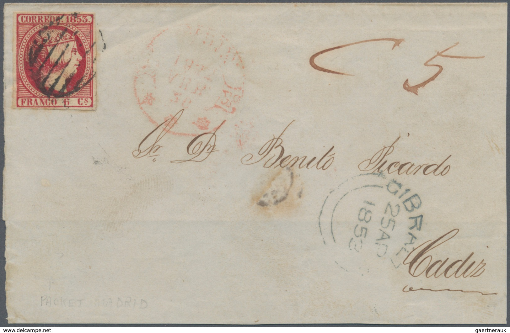 """Gibraltar: 1853. Letter From GIBRALTAR To ALMERIA Franked With SPANISH 6 Cuartos Red """"Isabel II"""" Tie - Gibilterra"""