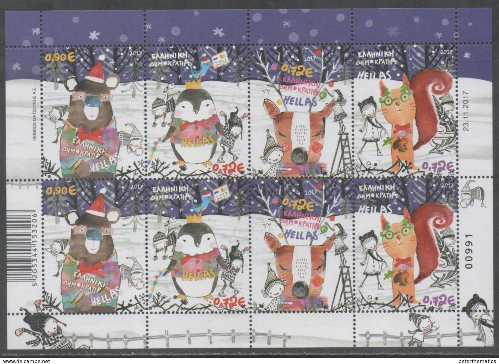 GREECE, MNH, 2017, CHRISTMAS, PENGUINS, REEINDEER, BEARS, STYLIZED, SHEETLET OF 2 SETS, ONLY 5000 SLTS PRODUCED - Christmas