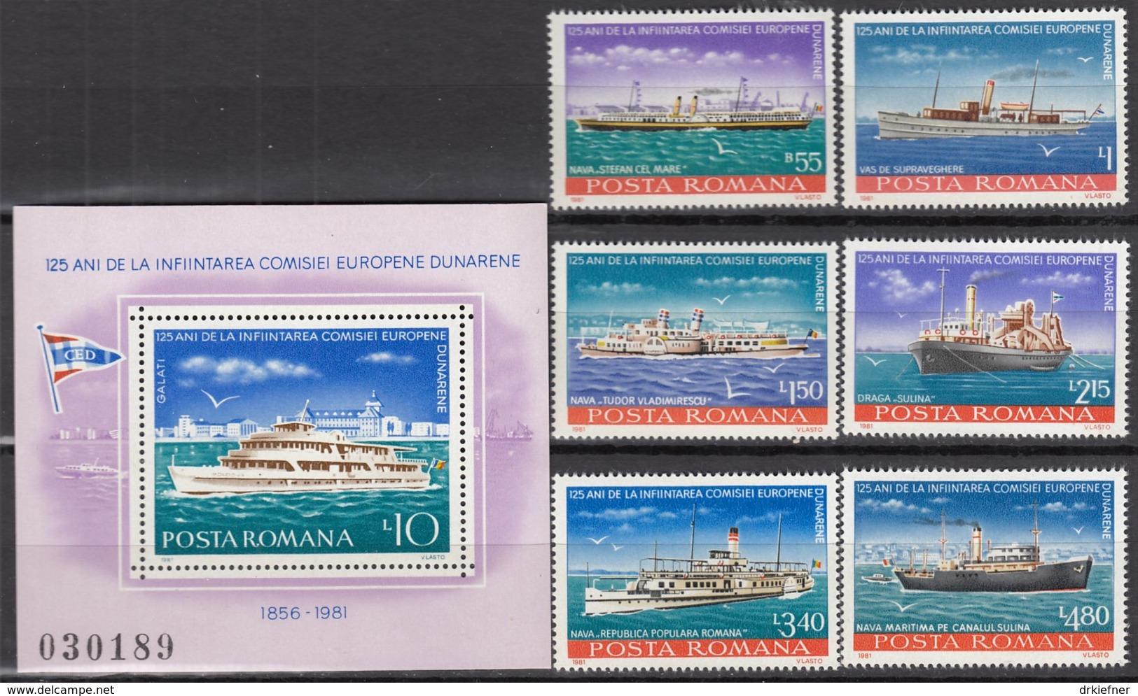 RUMÄNIENIEN 3769-3474 + Block 176, Postfrisch **, 125 Jahre Europäische Donaukommission - Donauschiffe 1981 - Europa-CEPT