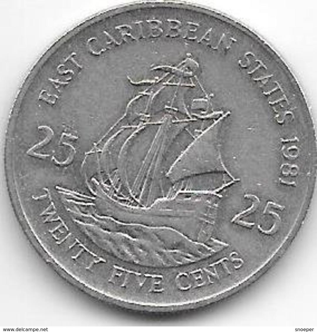 *east Caribbian States 25 Cents 1981 Km  14 - Caribe Oriental (Estados Del)