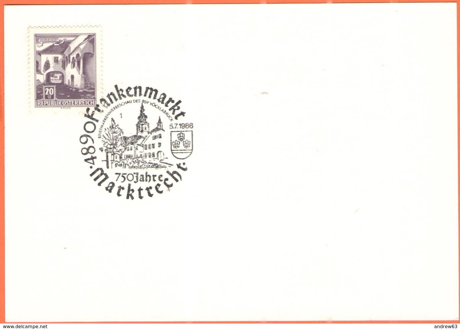 AUSTRIA - ÖSTERREICH - Autriche - 1986 - 20g Mörbisch + Sonderstempel Frankenmarkt - 1945-.... 2a Repubblica