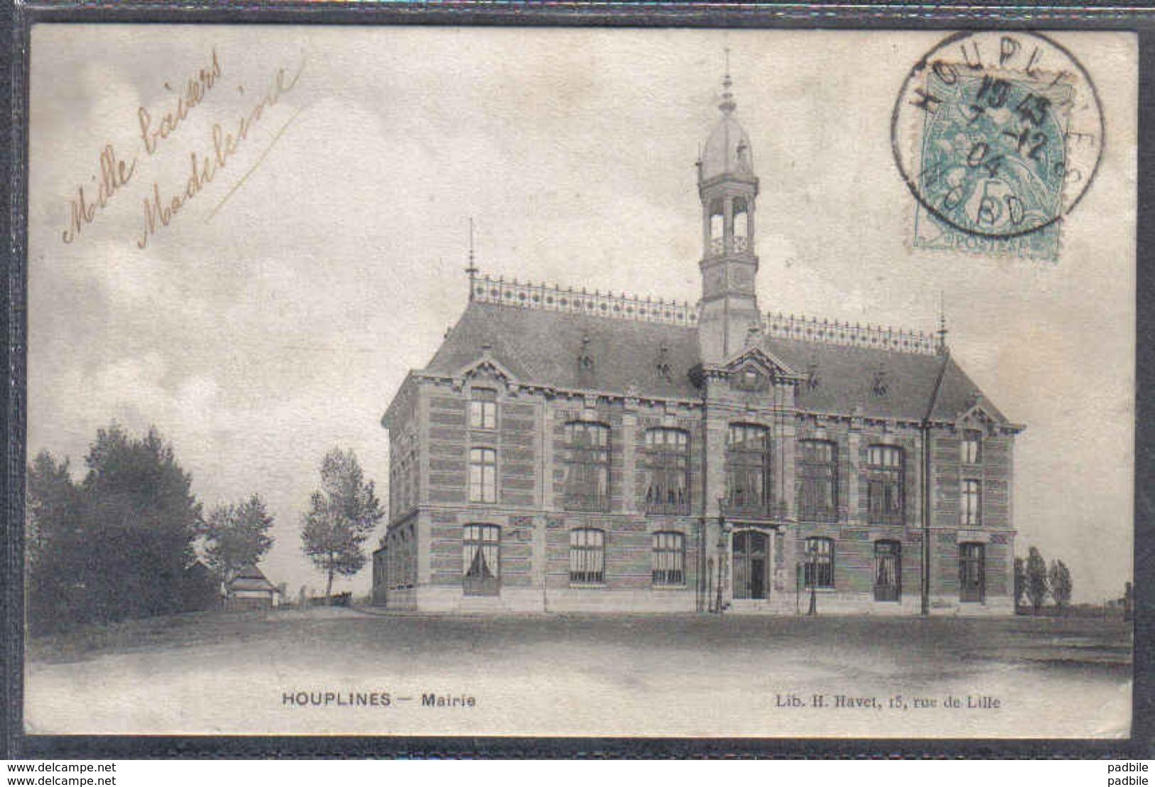 Carte Postale 59. Houplines  La Mairie Trés Beau Plan - France