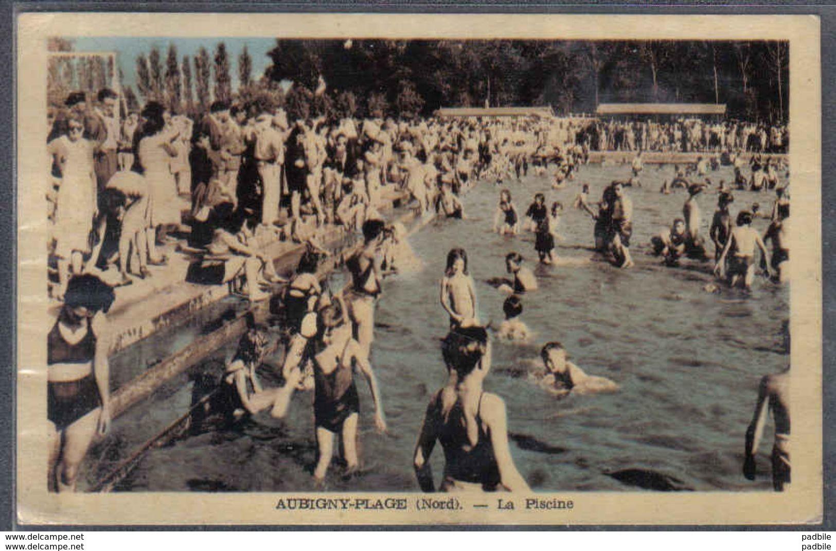 Carte Postale 59. Aubigny-au-Bac-plage  La Piscine Et Le Restaurant Dancing De L'Hermitage Trés Beau Plan - Autres Communes
