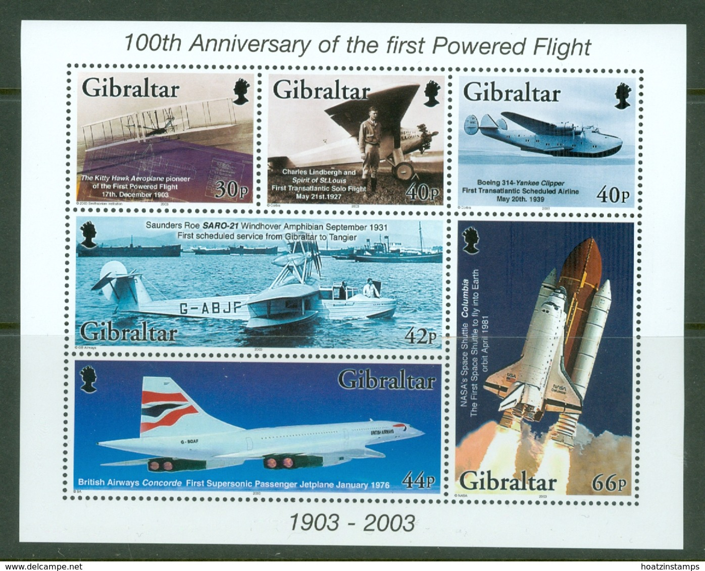 Gibraltar: 2003   Centenary Of Powered Flight  M/S   MNH - Gibilterra