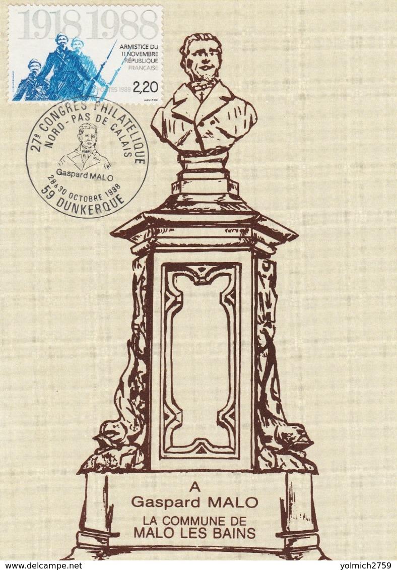 OBLIT. GF ILLUSTRÉE CONGRES PHILAT. DUNKERQUE 10/88 - Gaspard MALO - Marcophilie (Lettres)