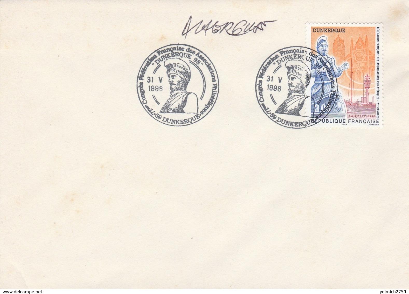 OBLIT. GF ILLUSTRÉE CONGRES PHILAT. DUNKERQUE 5/98 - Géant / Bateau Feu De France - Signé LAVERGNE - Marcophilie (Lettres)