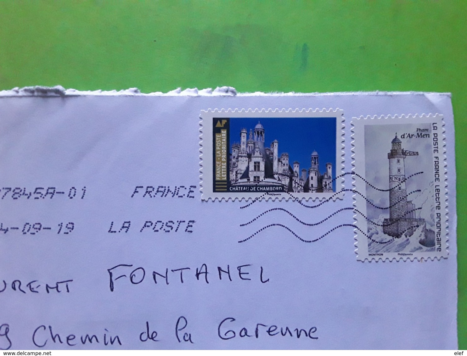 France Lettre Prioritaire DOUBLE PORT Timbre Chateau De Chambord / Phare D' Ar Men , 2019, TB - 1961-....