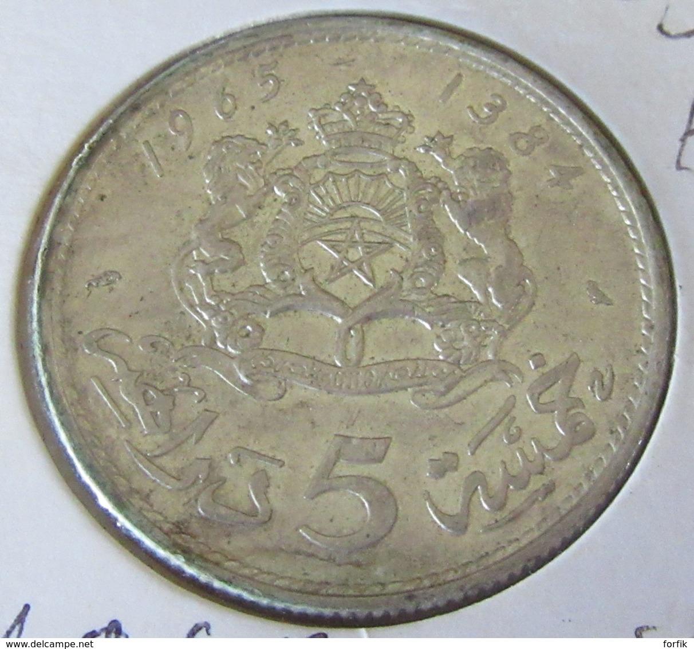 Maroc - Monnaie 5 Dirhams 1965 En Argent 720 - SUP - Sous Capsule - Maroc