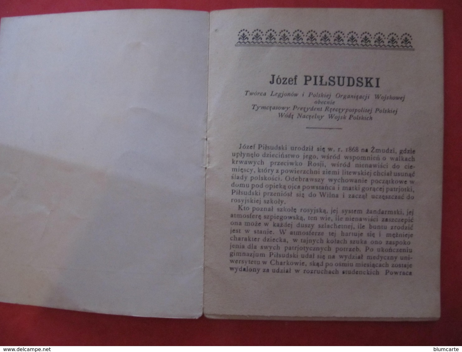 Petit Livret - JOSEF PILSUDSKI - 8 Pages - Langue Polonaise - 1918 - Culture