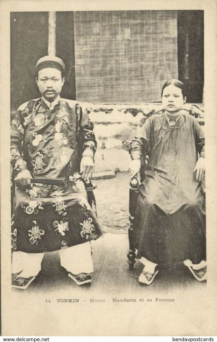 Indochina, TONKIN HANOI, Mandarin Et Sa Femme (1899) Postcard - Viêt-Nam