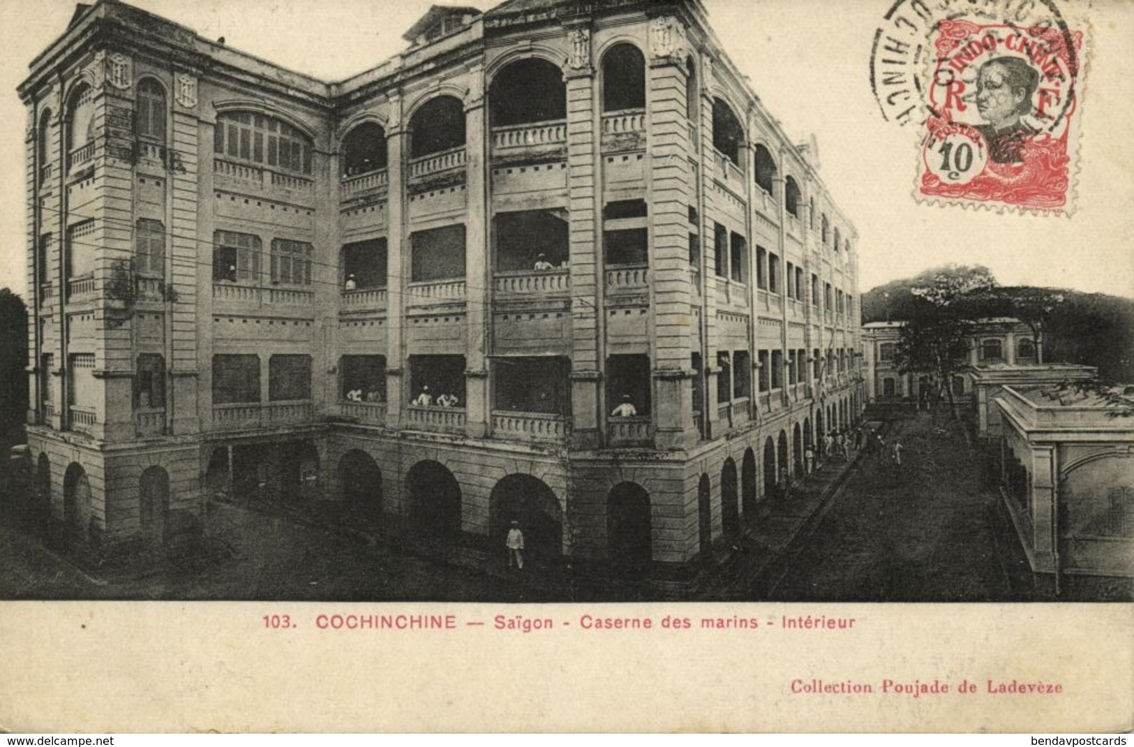 Indochina, SAIGON, Caserne Des Marins, Intérieur, Marine Barracks 1910 Postcard - Viêt-Nam