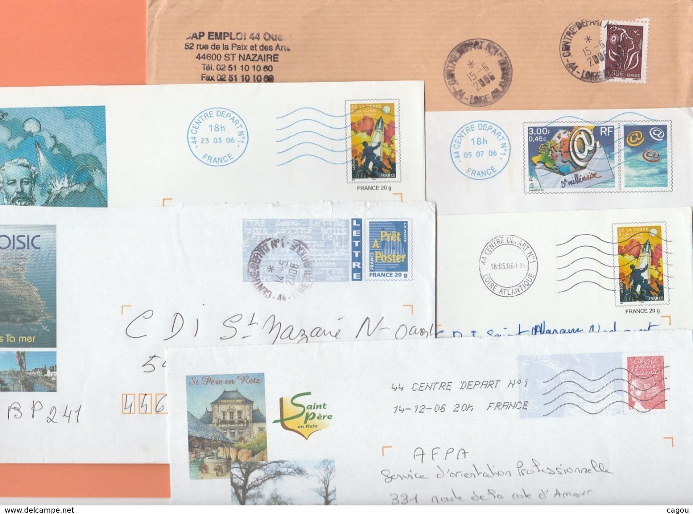 LOT ENVELOPPES ENTIERES CACHETS 44 CENTRE DEPART N°1 LOIRE ATLANTIQUE - A ETUDIER ! - Marcophilie (Lettres)