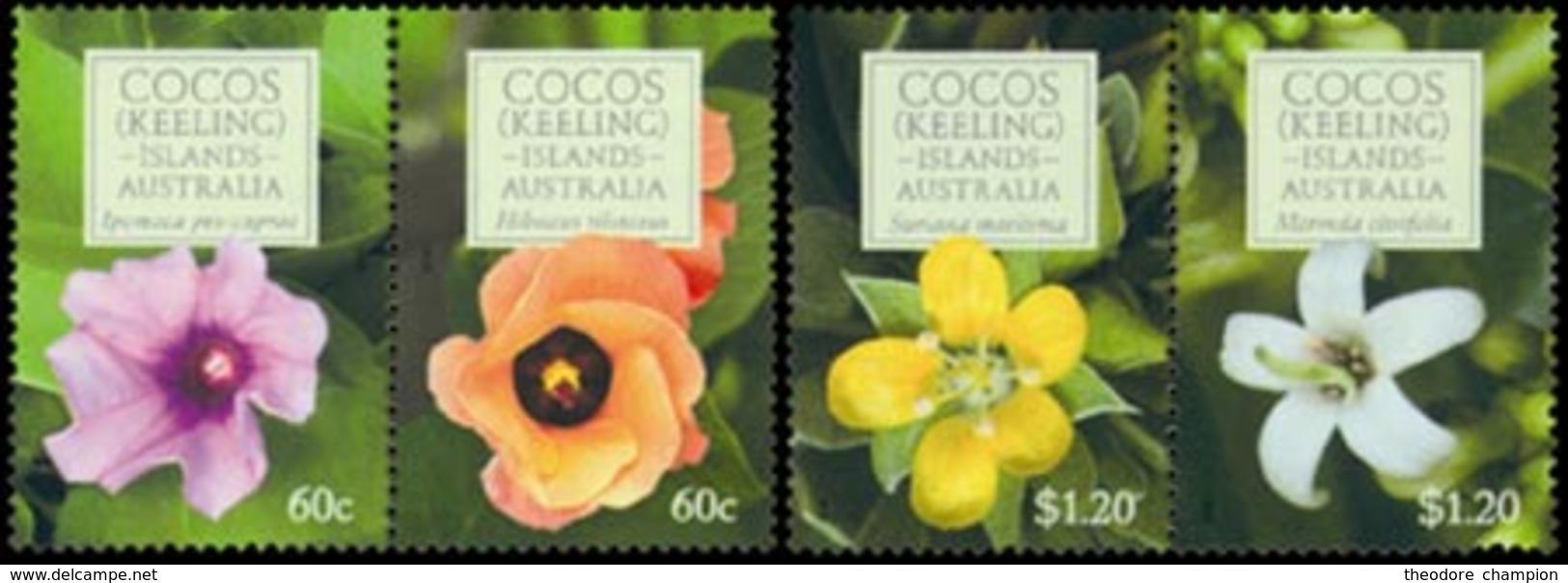 COCOS Fleurs, Ipomoea 4v 2010 Neuf ** MNH - Cocos (Keeling) Islands