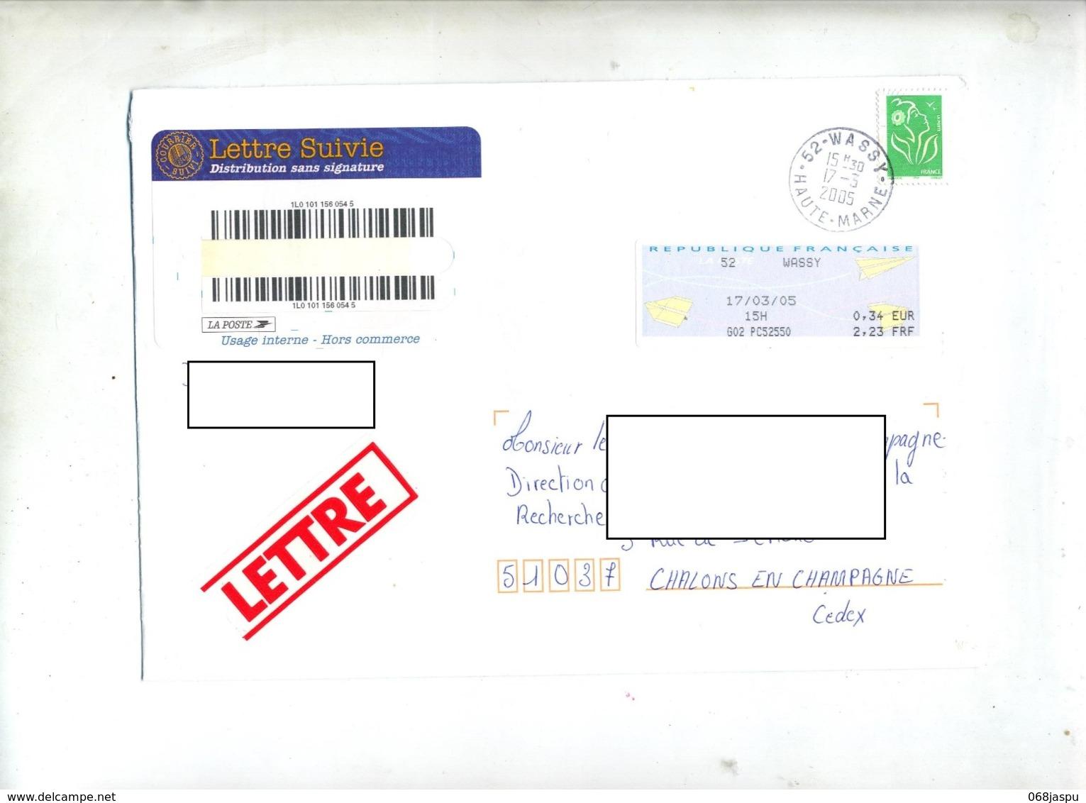 Lettre Suivie Cachet  Wassy Sur Vignette Lamouche - Marcophilie (Lettres)