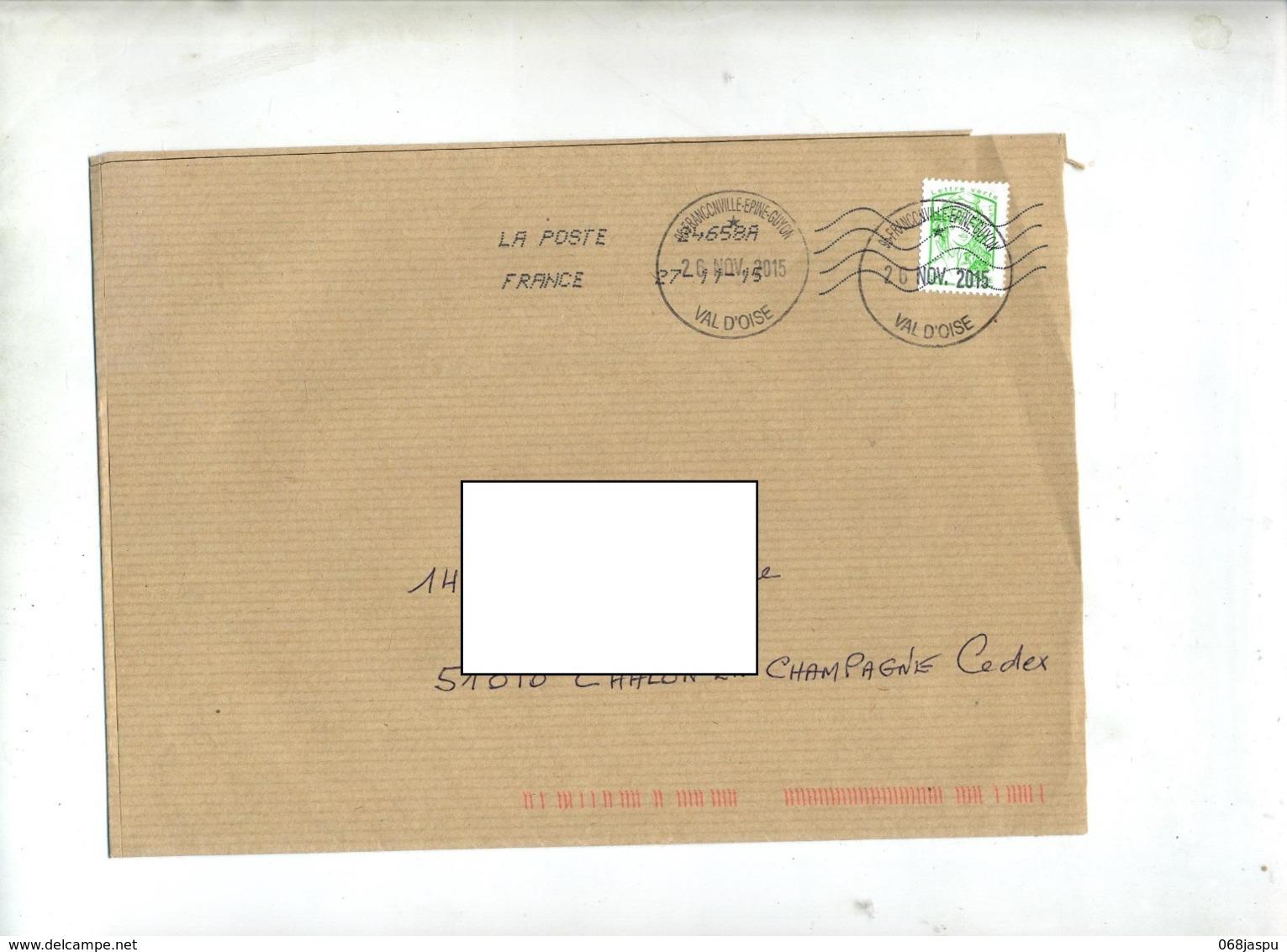 Lettre Grand Cachet Franconville + Chiffrée Sur Ciappa - Marcophilie (Lettres)