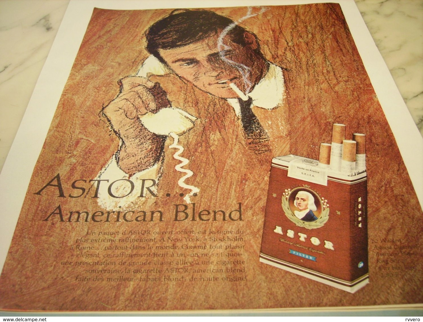 ANCIENNE PUBLICITE CIGARETTE ASTOR AMERICAN BLEND 1964 - Raucherutensilien (ausser Tabak)