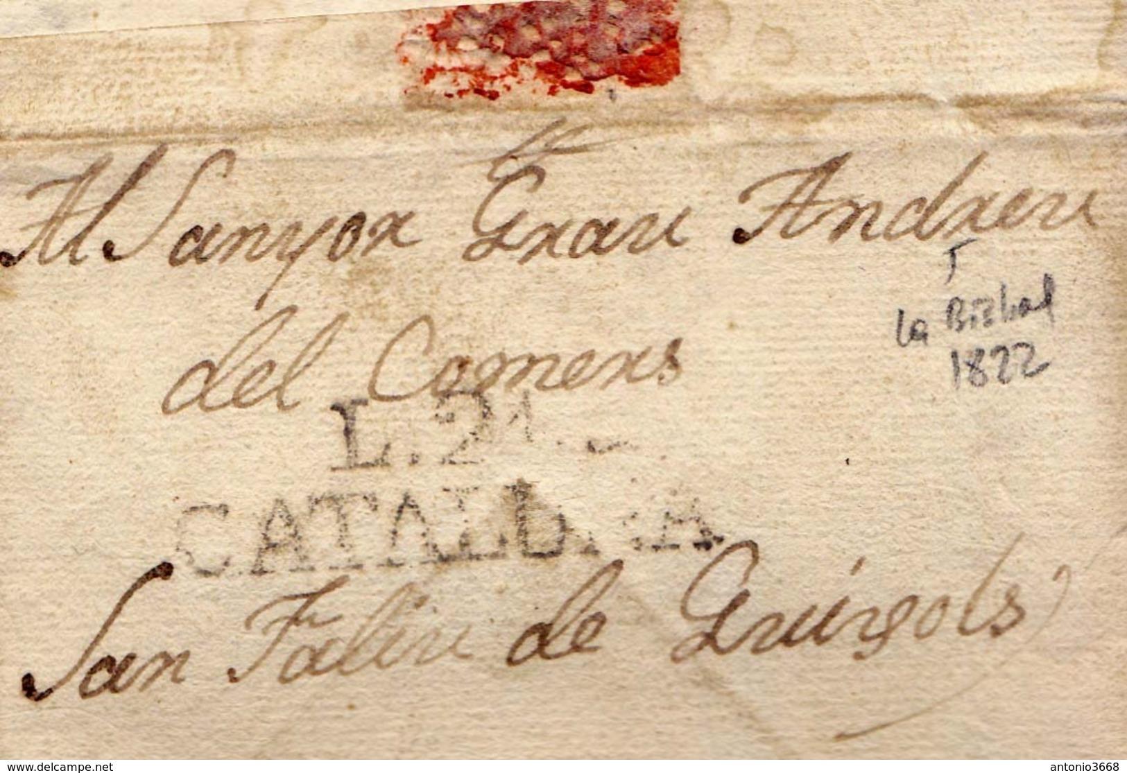 Año 1822 Prefilatelia Carta De La Escala A San Feliu De Guixols Marca L21 Cataluña CURIOSA Carta - Spain